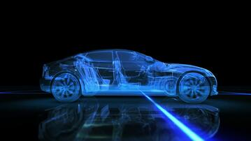 Transparent blueprint of a vehicle with automatic transmission
